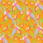 Wild Australia Groovy Galahs Orange 06 25cm cut WOF