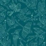 Aviary birds on teal green 25cm cut WOF