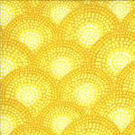 Dreamscapes Digital Sunset (Clams) in Yellow, 25cm cut WOF