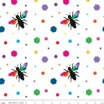 Create Colour Hexie Bees White, 25cm cut WOF