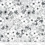 Illustrations Paper, Black floral on white, 25cm cut WOF