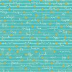 Happy Notes in Lagoon, 25cm cut WOF