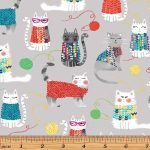 Knit Together Cat Novelty fabric on pale grey, 25cm cut WOF
