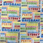 Cities of Australia on White, 25cm cut WOF