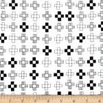 Blueberry Park, Black crosses on white, 25cm cut WOF