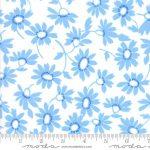 Back Porch Blue Flowers on White, 25cm cut WOF