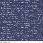 In the Meadow white text on navy, 25cm cut WOF