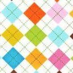 Remix, Summer, Argyle design on white, 25cm cut WOF