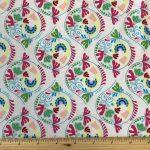 Chirpy Lola Birds on white, 25cm cut WOF