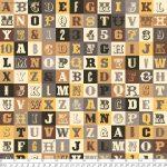 Sasparilla Alphabet, Yellow and browns, 25cm cut WOF