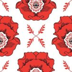 Mod Studio, big red blooms, red on white, 25cm cut WOF