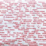 Sewing School Text, in Red, 25cm cut WOF