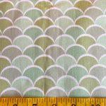 Clamshells, greens on white, 25cm cut WOF