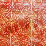 Garden Party, Gazebo, Orange, batik, 25cm cut WOF