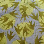 Marks, Gold, Olive birds on Grey, 25cm cut WOF