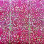 Garden Party, Gazebo, Cherry Lime, batik, 25cm cut WOF