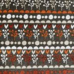 Small Floral stripe, orange, brown grey and white, 25cm cut WOF