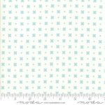 Little Snippets, Mint Crosses and spots on off white, 25cm cut WOF