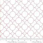 Flourish, Red geometric circle on off white, 25cm cut WOF