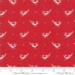 My Redwork Garden, White birds on red, 25cm cut WOF