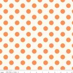 Le Creme Medium Dot Reversed Orange on Cream, 25cm cut WOF